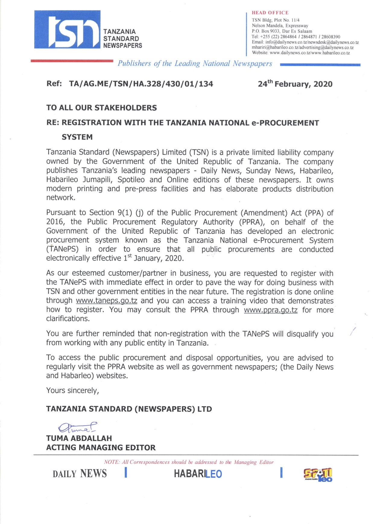 TSN URGES HER STAKEHOLDERS TO REGISTER WITH THE TANZANIA NATIONAL e-PROCUREMENT SYSTEM